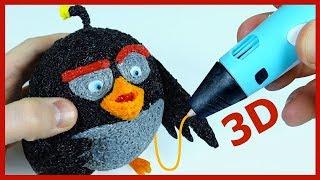 Бомб из мультика Angry Birds в кино 3D ручкой. DIY 3D Pen.