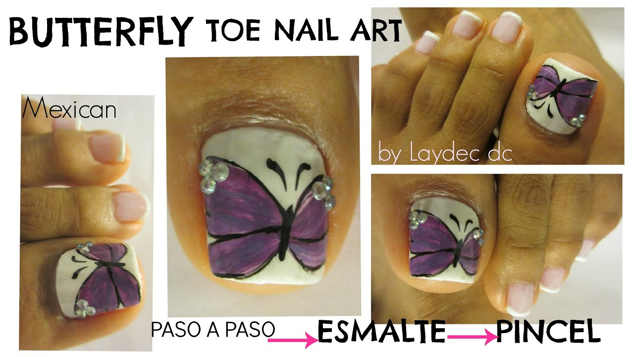 Uñas de los Pies Decoradas con Mariposa/ Pretty butterfly design toe nail art