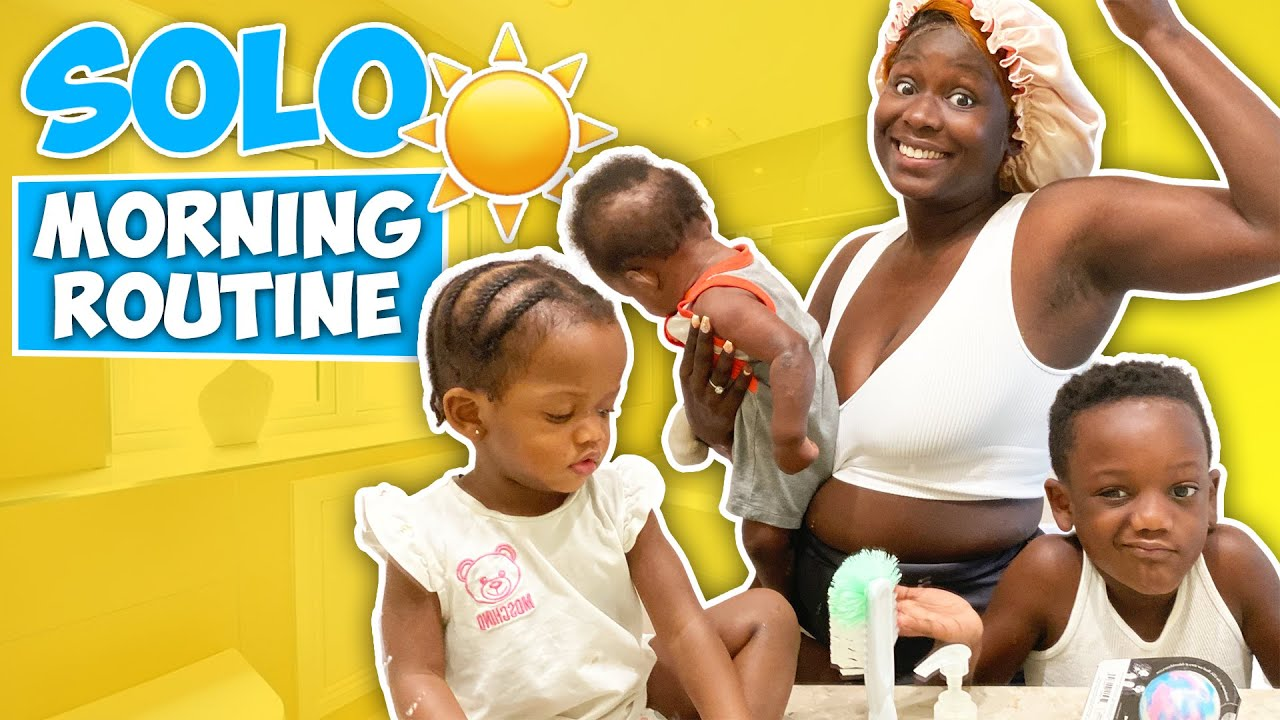 My New Morning Routine *Solo With 3 Kids*
