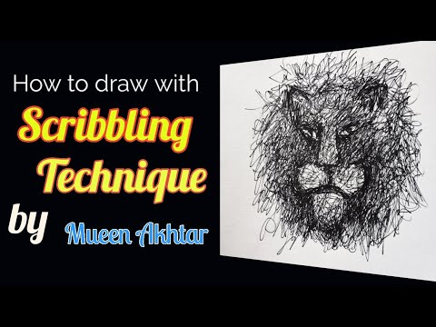 Scribbling Art Tutorial Video| How to draw with the Scribbling Technique|Animal Face with Scribbling