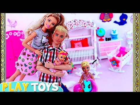 Barbie Doll and Ken  Set up New Dollhouse Dream Bedroom for Chelsea baby! 🎀