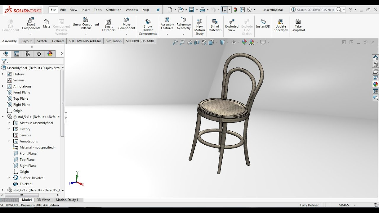 Solidworks Tutorial How To Design A Wooden Chair In Solidworks