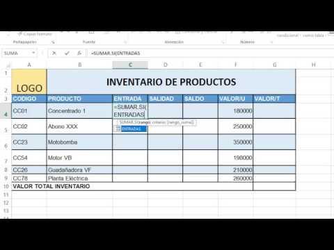 SISSTEMA SENCILLO DE INVENTARIO EXCEL - YouTube - formato inventario en excel