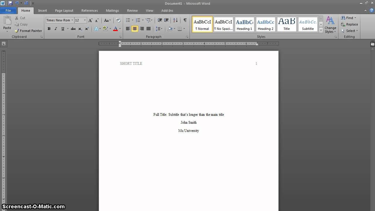 Microsoft word 2010: formatting your research paper