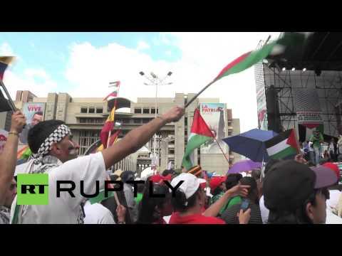 Venezuela: Venezuelans fly the flag for Palestine at Caracas rally