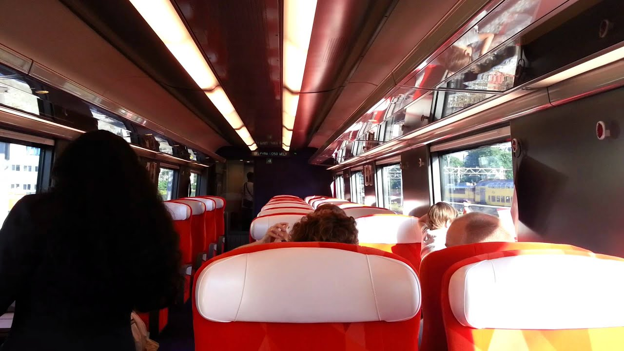 Inside the first ride of Fyra V250 arriving at Amsterdam Centraal ...