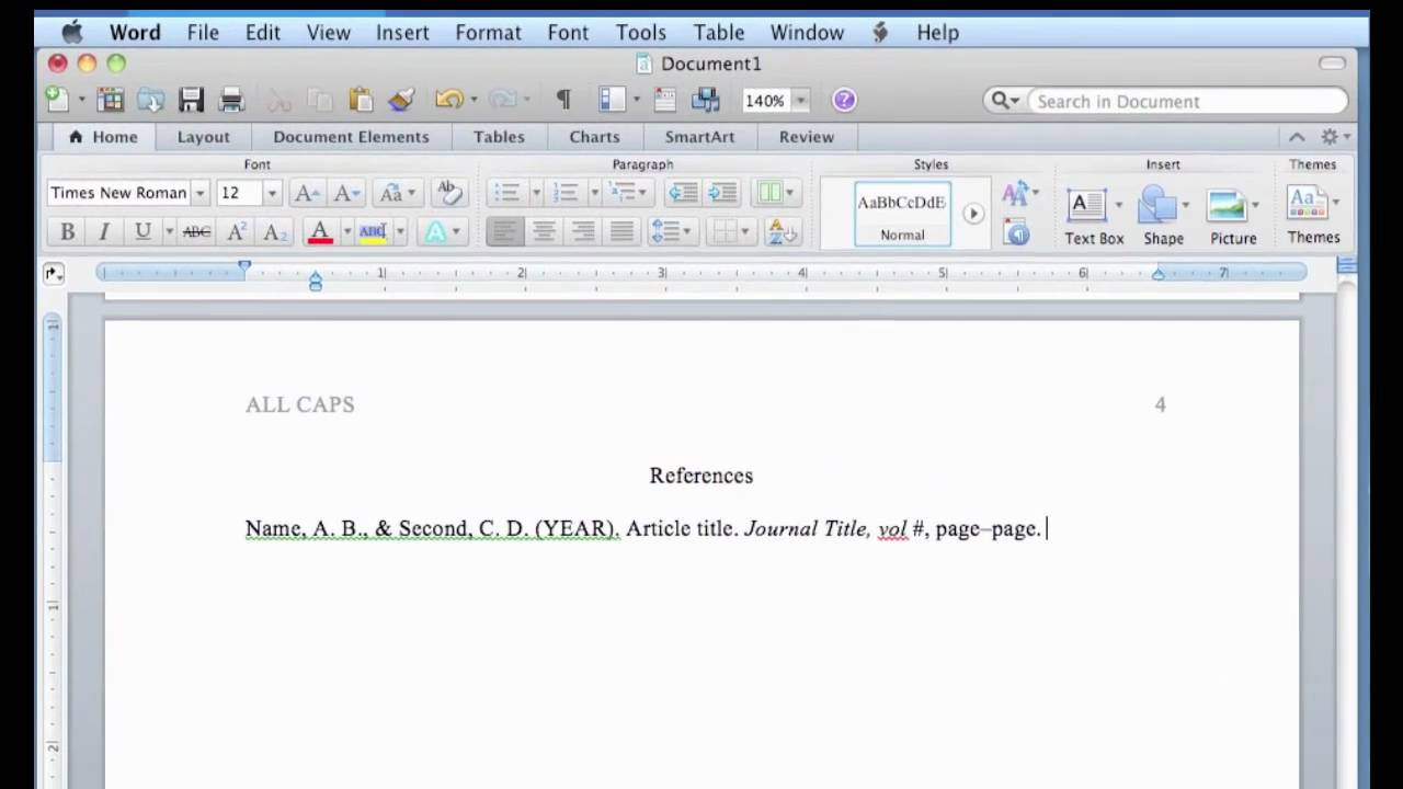 apa format in word for mac