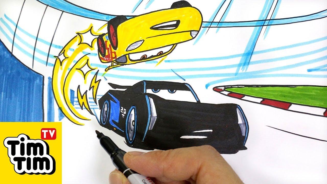 How To Draw Cars 3 Cruz Ramirez Vs Jackson Storm Flip To Win Easy