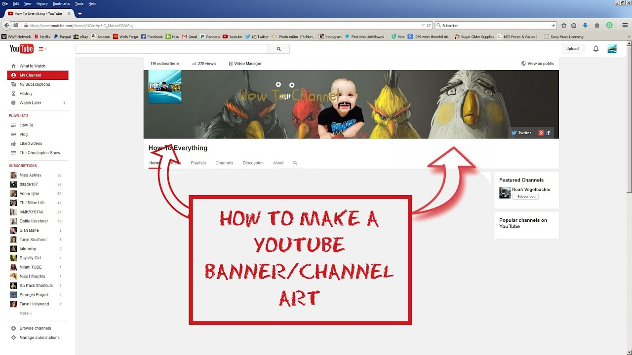 How to Make A YouTube Banner Channel Art - YouTube