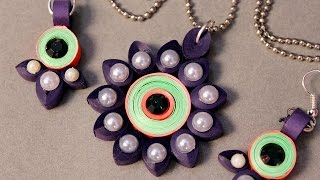 Paper Quilling Craft Tutorial # 5- Learn Beautiful Pendant Designs @ jaipurthepinkcity.com