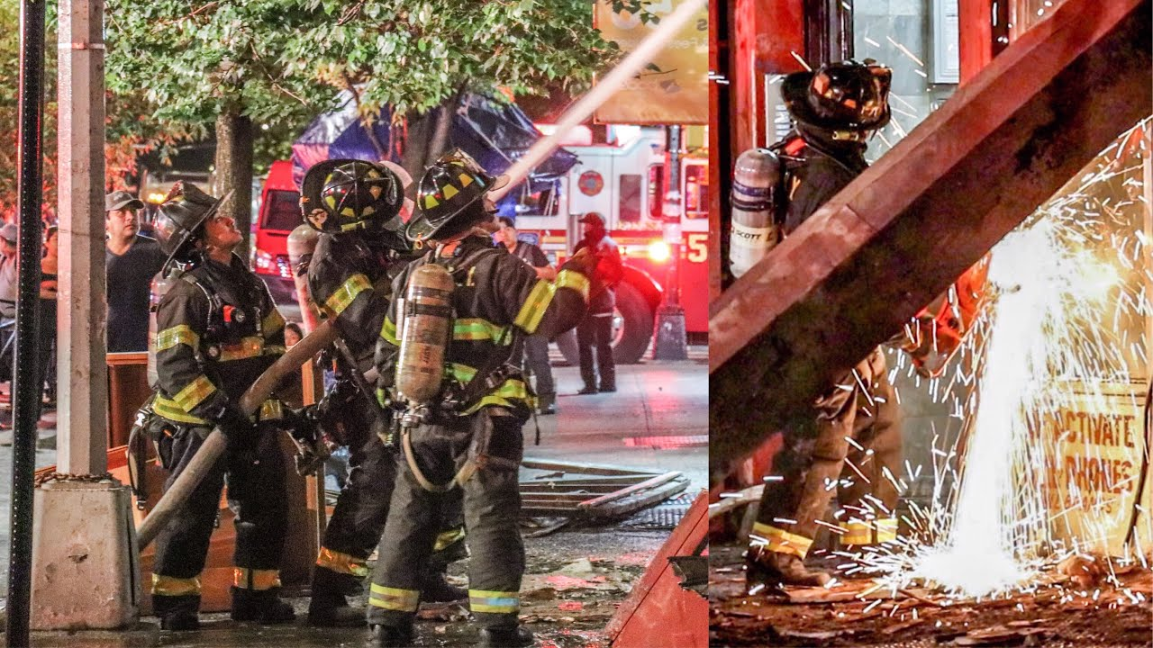 FDNY East Harlem Manhattan Store Fire Firefighters Raw News