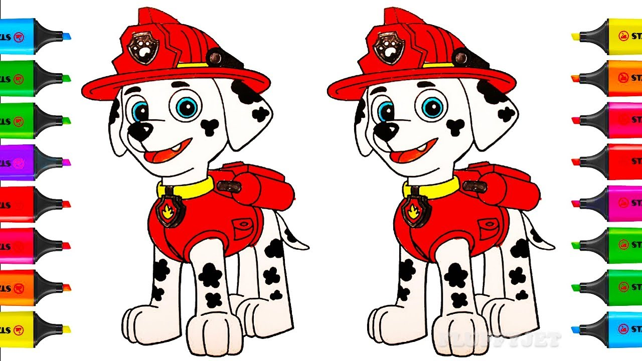 How To Draw Paw Patrol Marshall Coloring Pages Toys For Children
