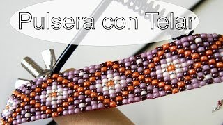 Repeat youtube video Abalorios Manualidades - Pulsera de Miyuki con Telar
