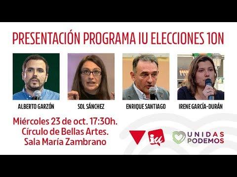 Presentación del programa de Izquierda Unida para las elecciones generales del 10N.
