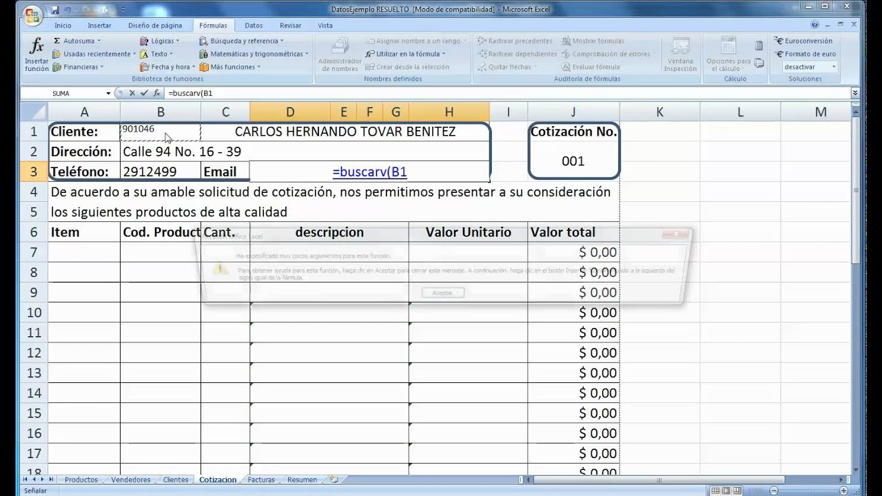 Excel Factura Con Base De Datos Youtube