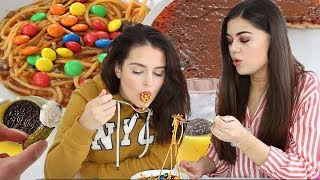 TASTING WEIRD FOOD COMBOS WITH MY BEST FRIEND! *SO GROSS*