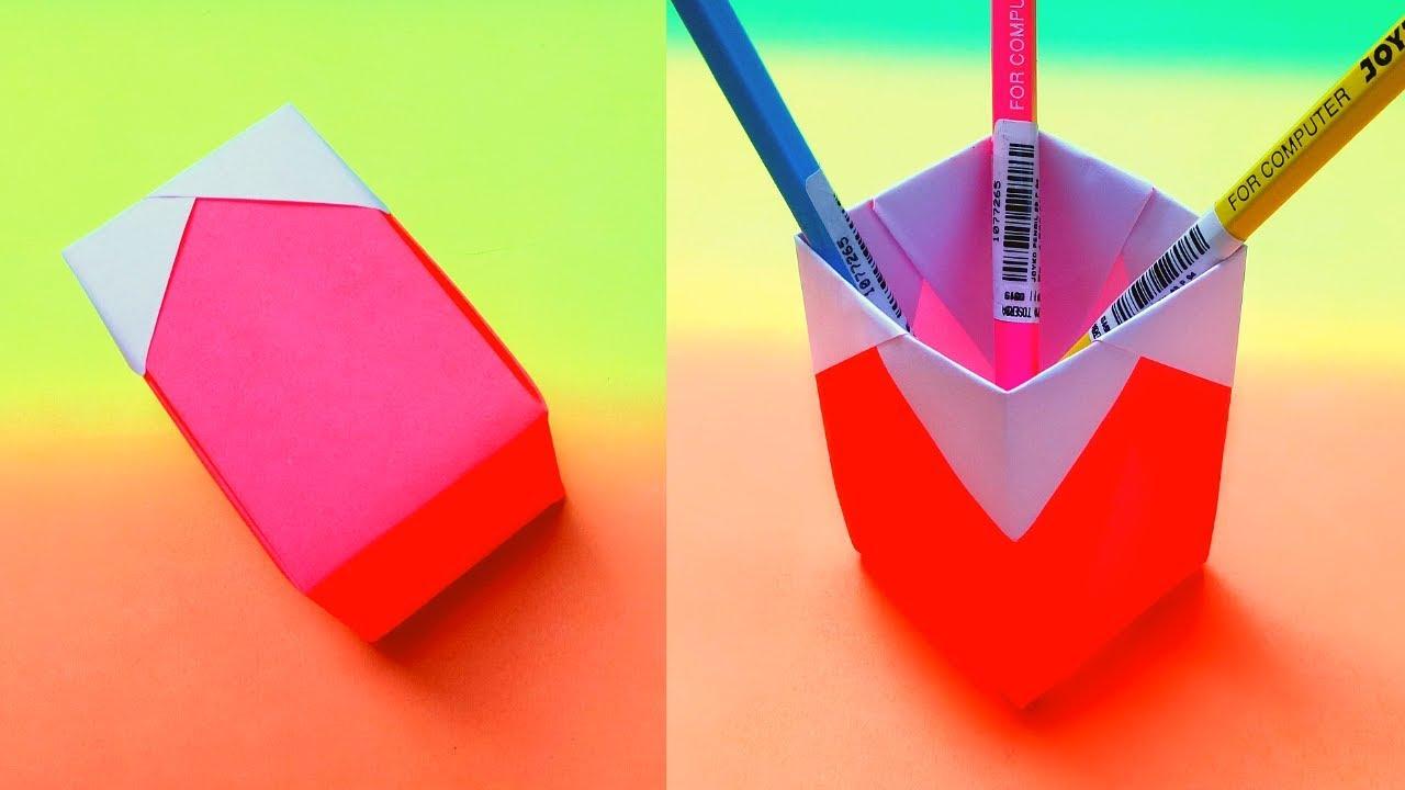 Cara Membuat Tempat Pensil Simple Dari Kertas Origami ...