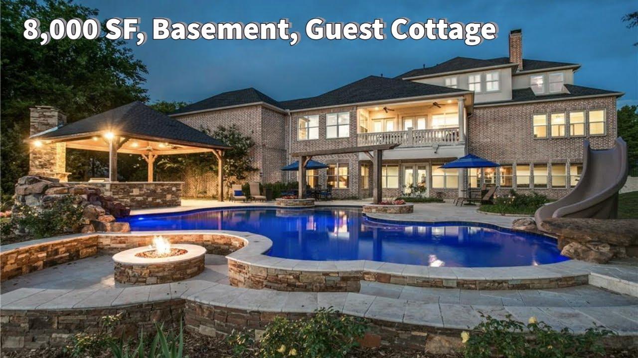 8,000 SF, 2-Acre Creek Lot, Separate Guest Cottage, Basement, Dumbwaiter, NE of Dallas Home For Sale