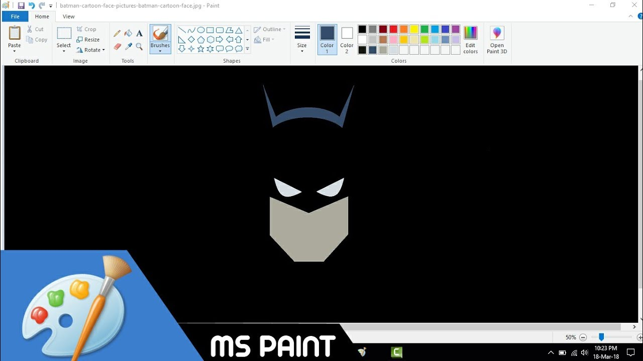 How to Draw Minimal Batman Wallpaper in MS Paint from Scratch! - YouTube 1b647738c