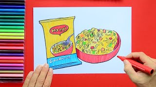 How to draw and color Maggi Noodles