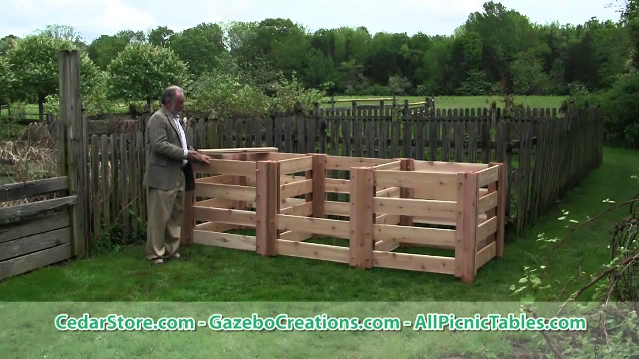 renoir u0027s red cedar 3 compartment compost bin with derek fell youtube