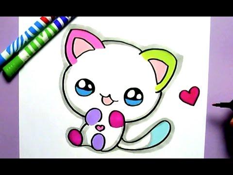 How To Draw Cute Rainbow Cat Como Dibujar Un Gato Kawaii Youtube