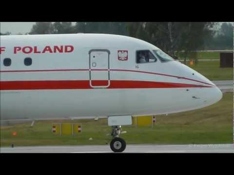 Republic of Poland Embraer 175 takeoff from Warsaw EPWA