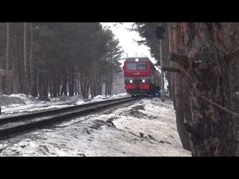 Тепловоз ТЭП70БС-229 с пригородным поездом Набережные Челны - Ижевск