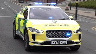 New all-electric Jaguar ambulance car responding to a call in Birmingham