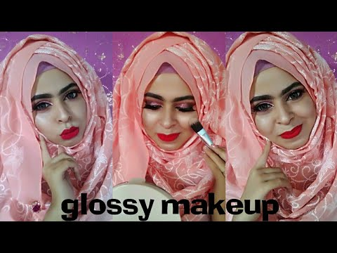 (Eid Makeup look 2018)pink glossy glam look & hijab style ||safrin prity