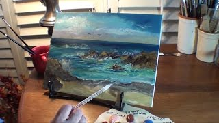 Paint Ocean with Rocks - Marge Kinney Art - Part #2 of 3- Seascape