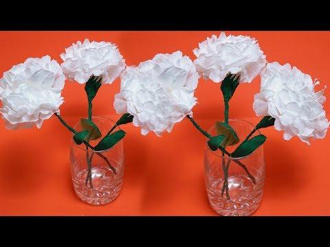 How To Make Round Tissue Paper Flower - Crepe Paper Flower Making - #DIYCRAFTS