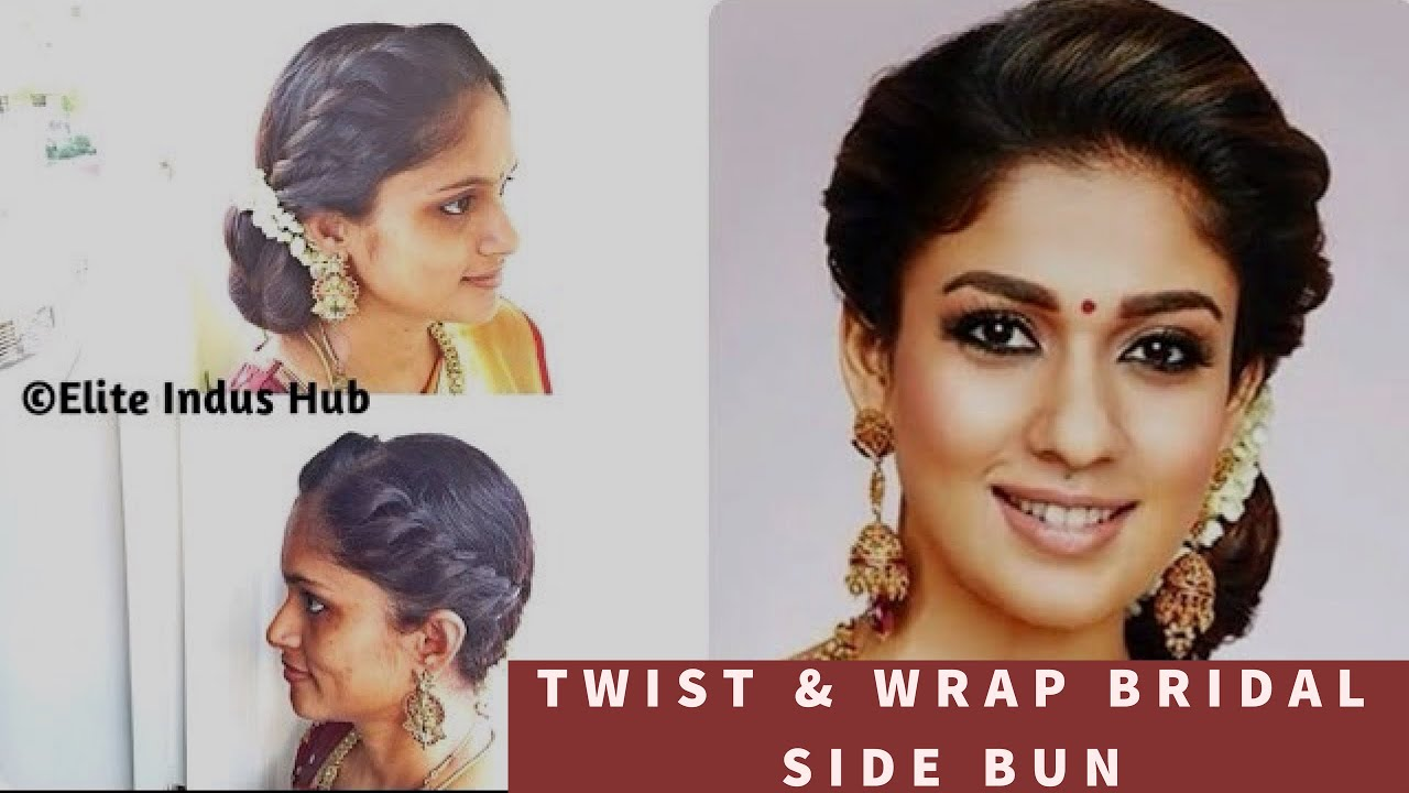 diy twist & wrap bridal side bun | nayanthara hairstyle | easy indian bridal hairstyle