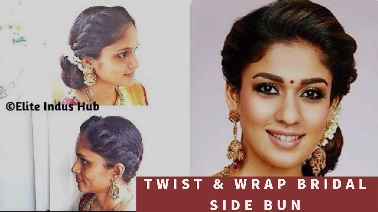 diy twist & wrap bridal side bun | nayanthara hairstyle | easy indian  bridal hairstyle
