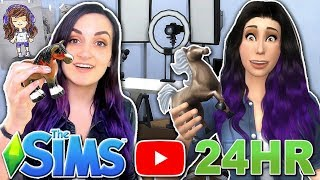 24 HOUR Living As My YouTuber Sim Challenge