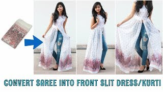 Download Video DIY: Convert Old Saree Into Front Slit Dress\Kurti in 10 Minutes MP3 3GP MP4