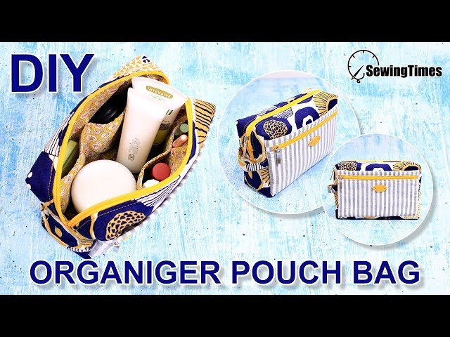 DIY Organizer Pouch Bag | travel makeup pouch sewing | cosmetic toiletry bag tutorial  [sewingtimes]
