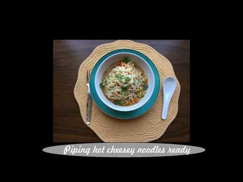 Cheesy maggi noodles soup