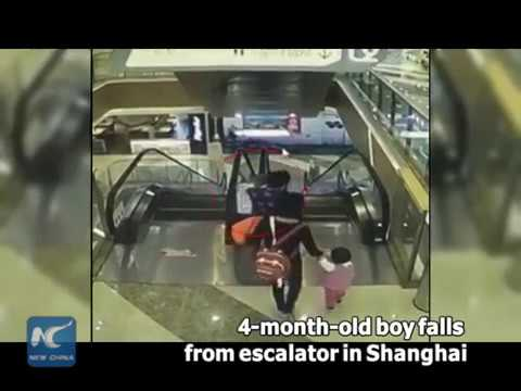 4-month-old boy falls from escalator in Shanghai