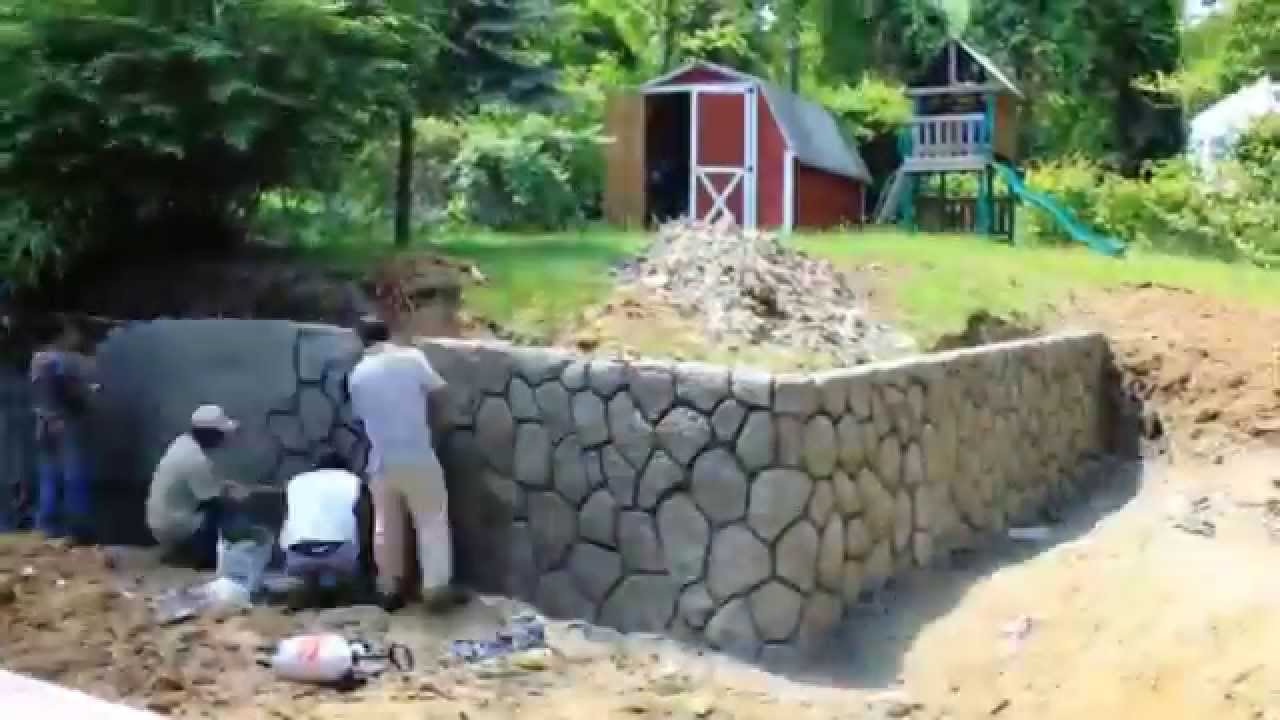 Retaining Wall Construction Time Lapse No Forms Youtube