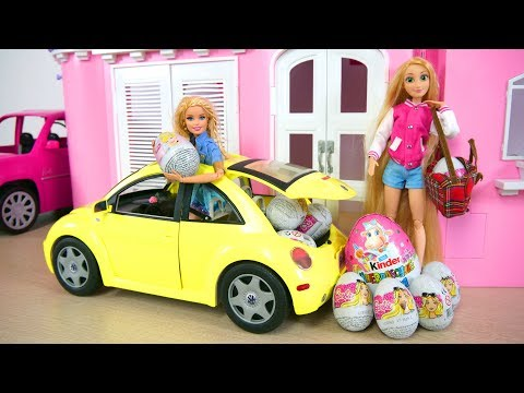 Barbie New Beetle Vehicle Car - Princess Surprise Eggs Mobil boneka Barbie Auto Überraschungsei