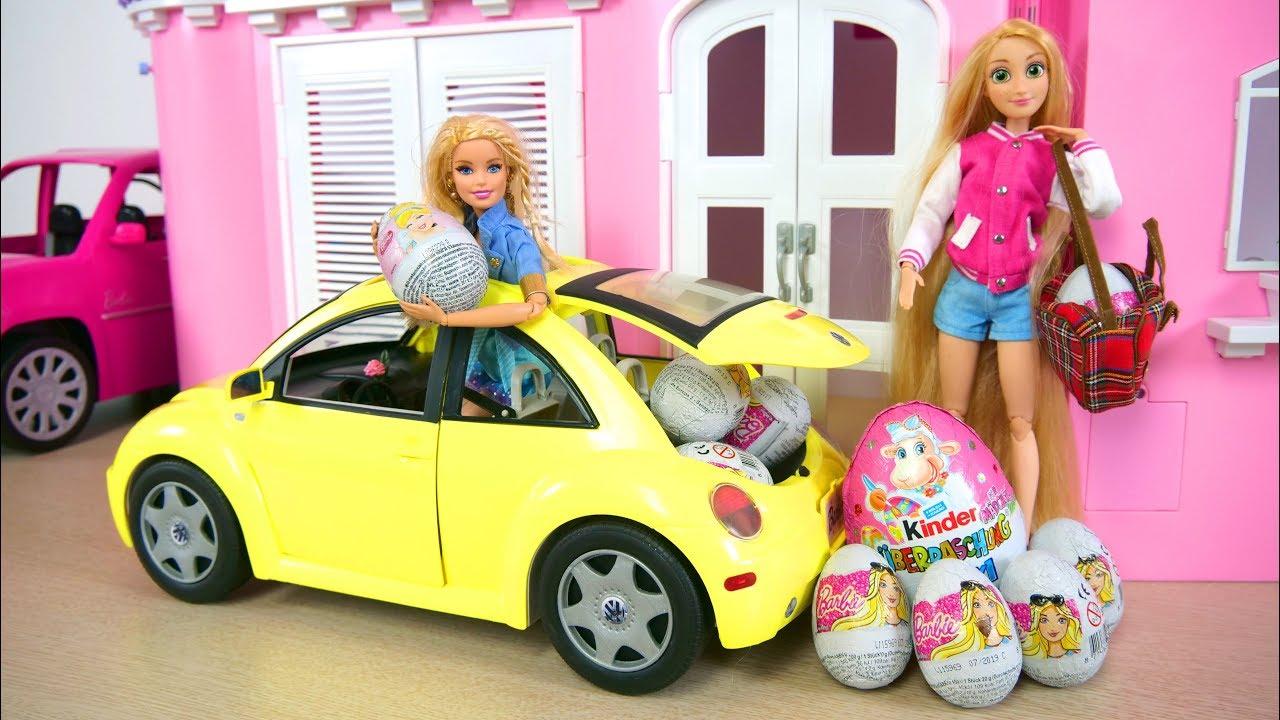 Barbie New Beetle Vehicle Car Princess Surprise Eggs Mobil Boneka Barbie Auto Uberraschungsei Youtube
