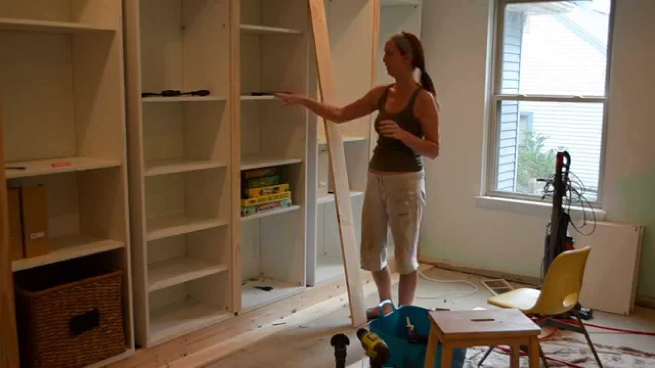 smart girls diy turning ikea shelves into built ins part 2 youtube. Black Bedroom Furniture Sets. Home Design Ideas