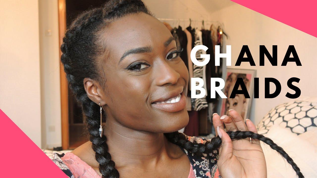 GHANA BRAIDS , réaliser des nattes couchées avec des extensions , YouTube