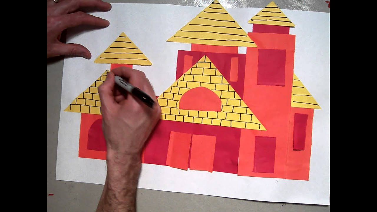 build a house collage  sharpie pattern for roofs and windows  part 5  6
