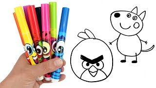 Drawing & Coloring with Surprise Toys Danny Dog Peppa Pig Mashem Angry Birds Surprise Egg Pikmi Pops