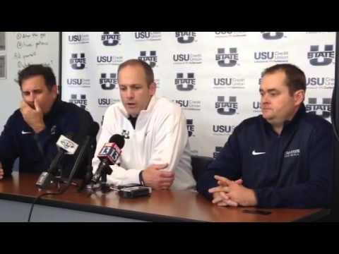 Matt Wells, Josh Heupel and Kevin Clune USU press conferenc