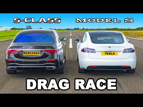 Mercedes S-Class v Tesla Model S: DRAG RACE