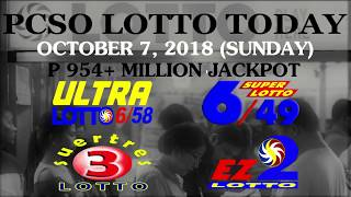 PCSO Lotto Results October 7, 2018 (Sunday) - PCSO LOTTO TODAY