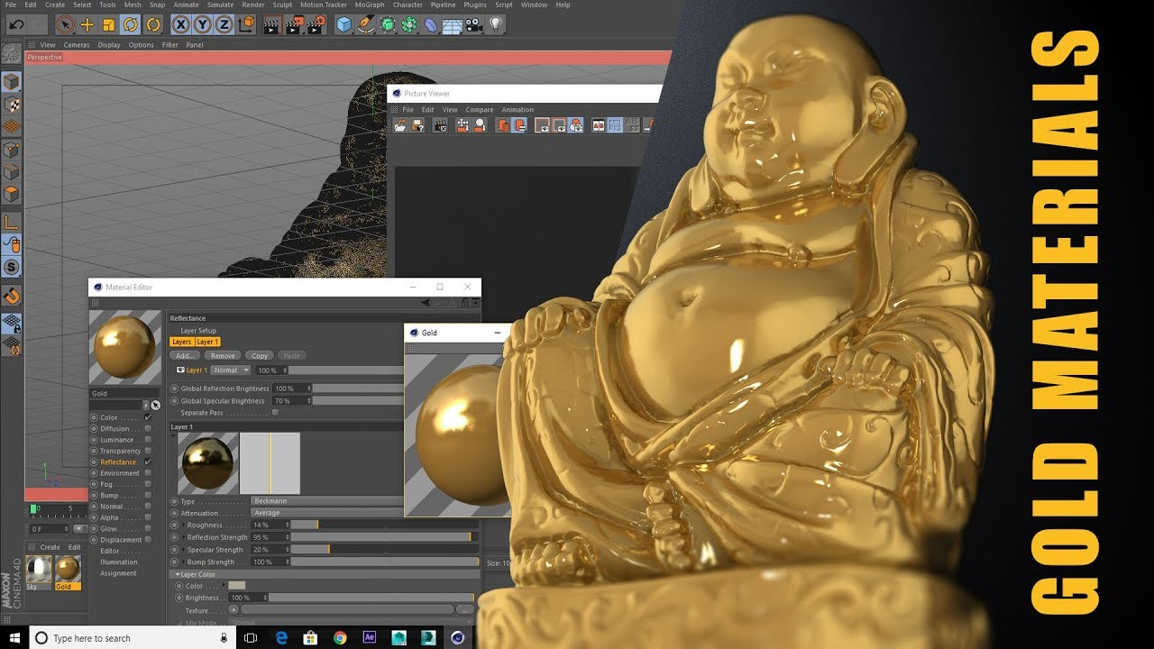 Cinema 4D Realistic Gold Material Tutorial